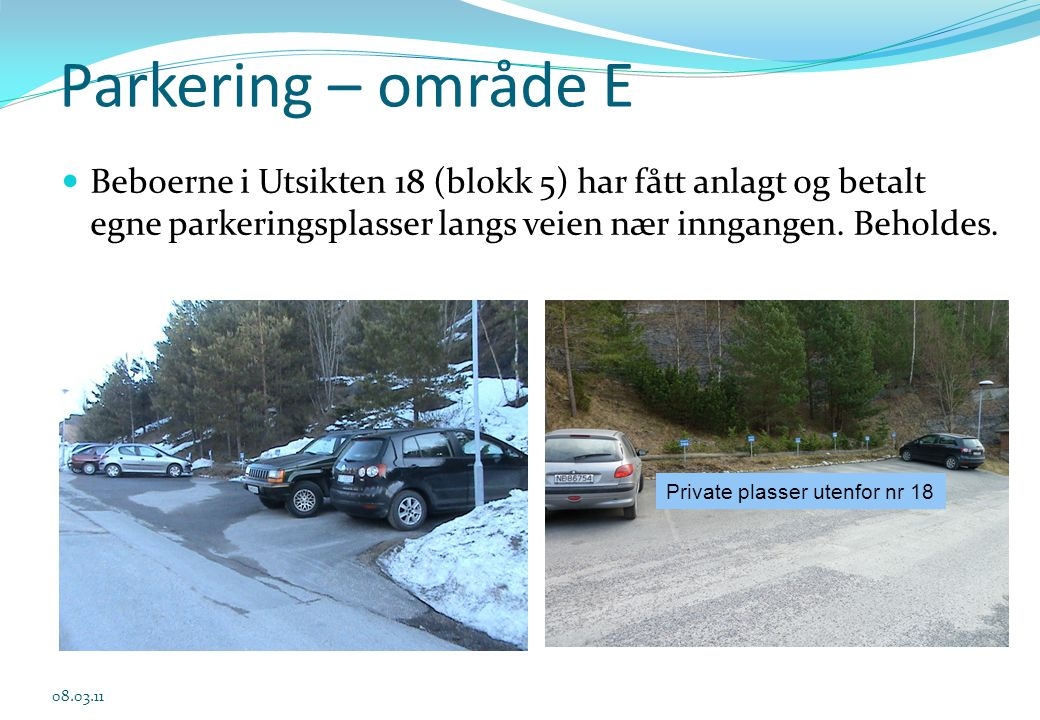 Parkering – område E.