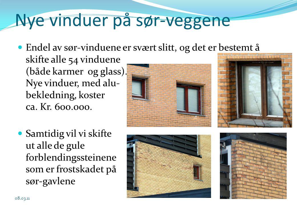 Nye vinduer på sør-veggene