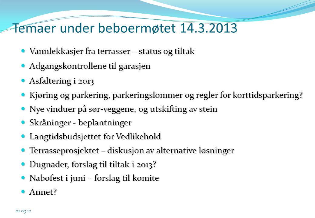 Temaer under beboermøtet 14.3.2013