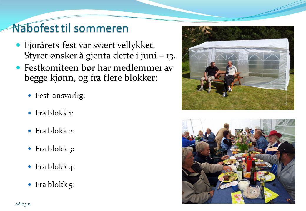 Nabofest til sommeren Fjorårets fest var svært vellykket. Styret ønsker å gjenta dette i juni – 13.