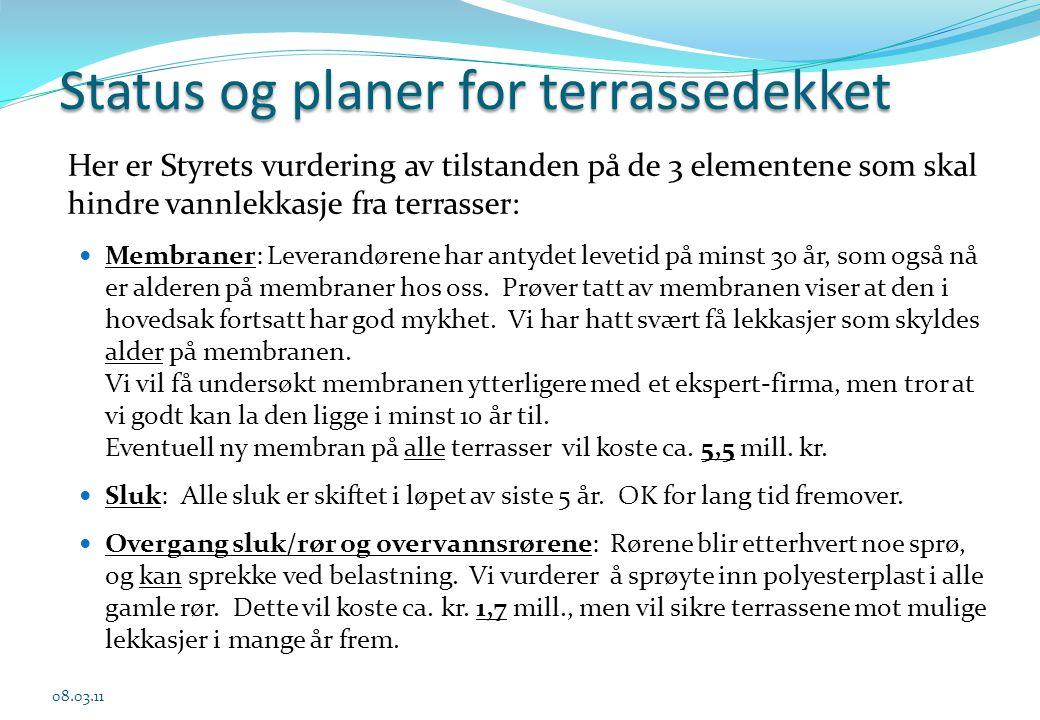 Status og planer for terrassedekket