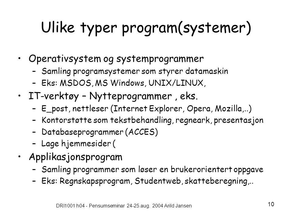 Ulike typer program(systemer)