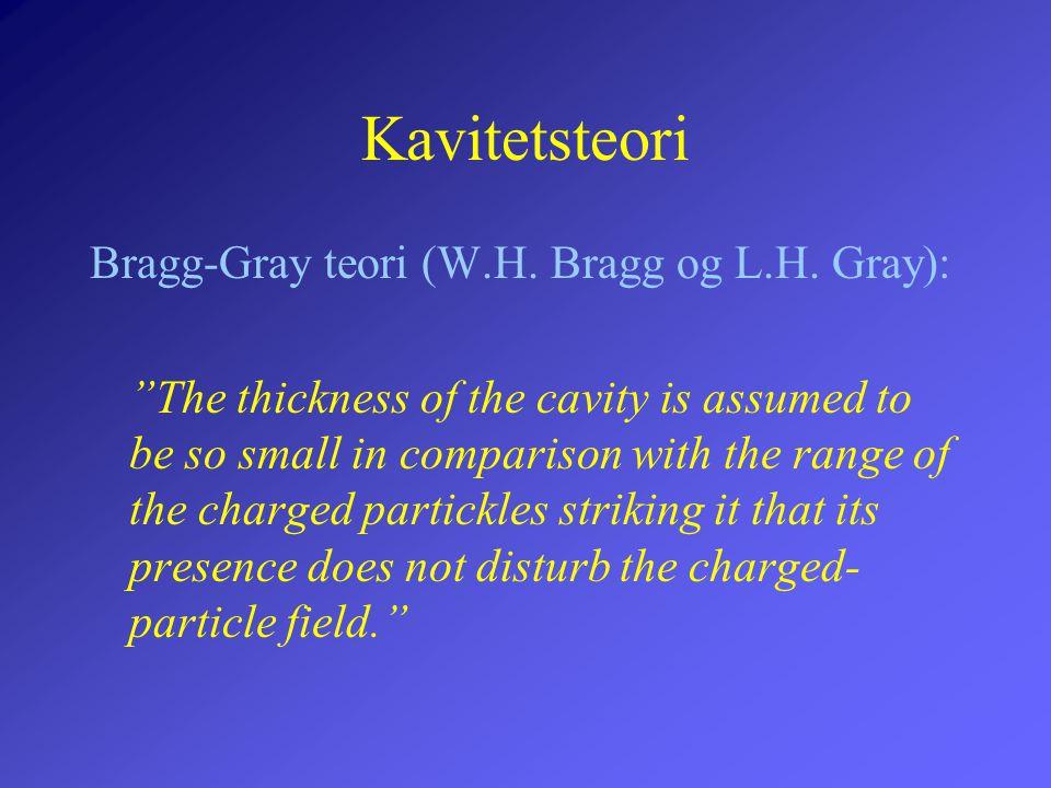 Kavitetsteori Bragg-Gray teori (W.H. Bragg og L.H. Gray):