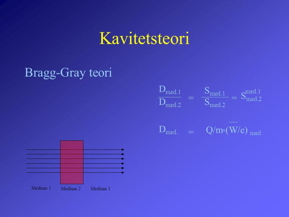 Kavitetsteori Bragg-Gray teori Dmed.1 Smed.1 med.1 Smed.2 = = Dmed.2