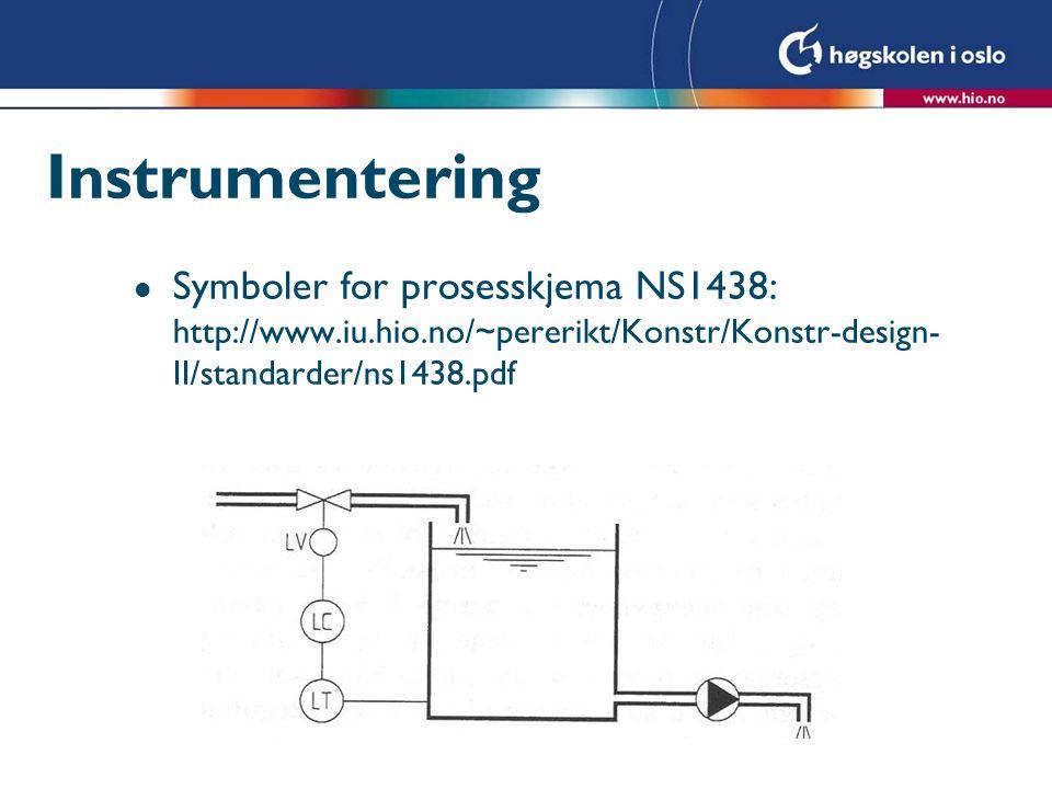 Instrumentering Symboler for prosesskjema NS1438: http://www.iu.hio.no/~pererikt/Konstr/Konstr-design-II/standarder/ns1438.pdf.