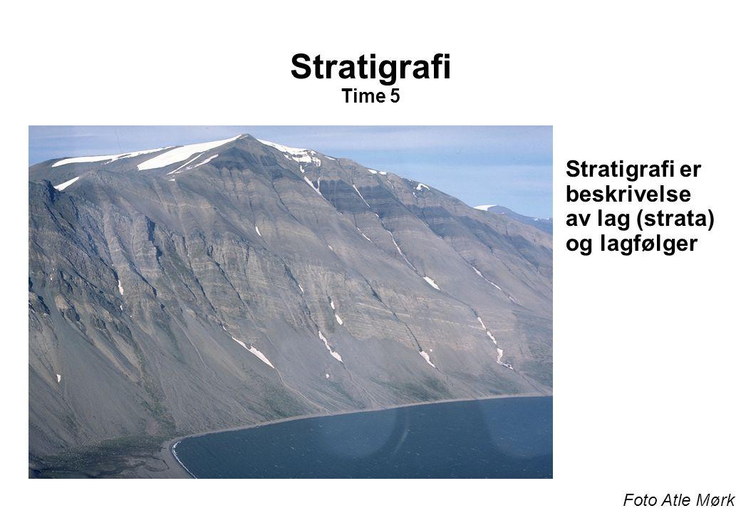 Stratigrafi Time 5 Stratigrafi er beskrivelse av lag (strata) og lagfølger Foto Atle Mørk