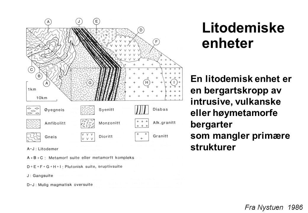 Litodemiske enheter En litodemisk enhet er en bergartskropp av intrusive, vulkanske eller høymetamorfe bergarter som mangler primære strukturer.