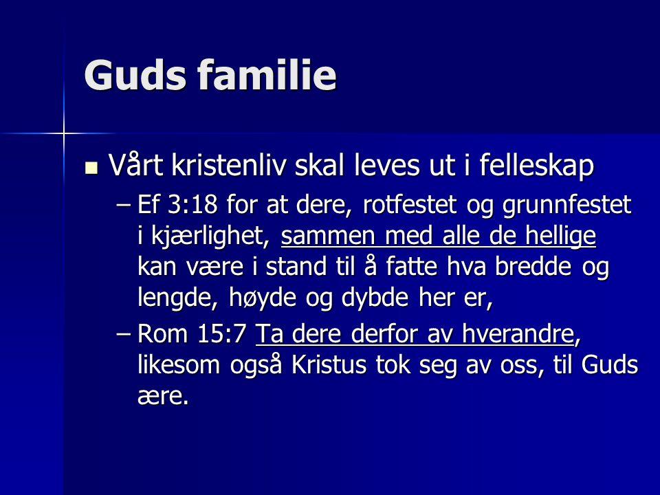 Guds familie Vårt kristenliv skal leves ut i felleskap