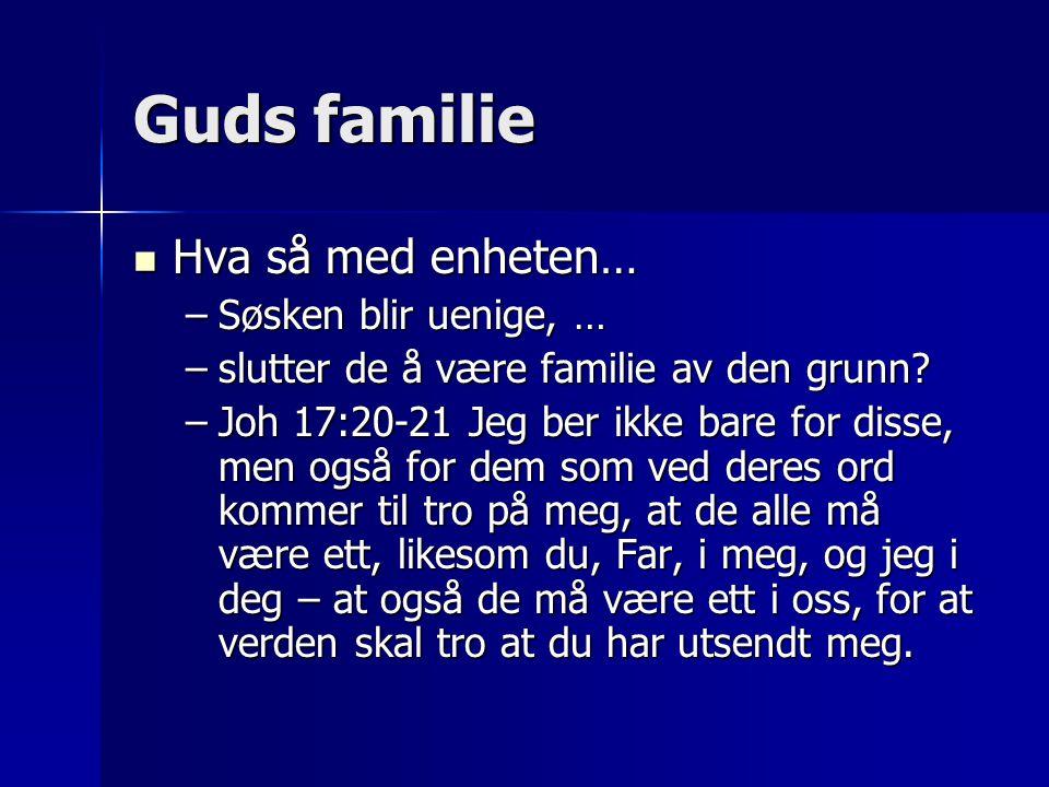 Guds familie Hva så med enheten… Søsken blir uenige, …