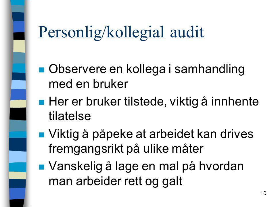 Personlig/kollegial audit