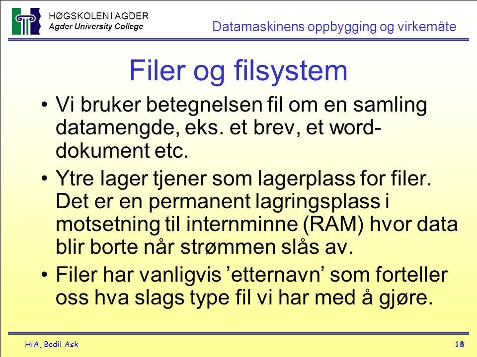 Filer og filsystem Vi bruker betegnelsen fil om en samling datamengde, eks. et brev, et word-dokument etc.
