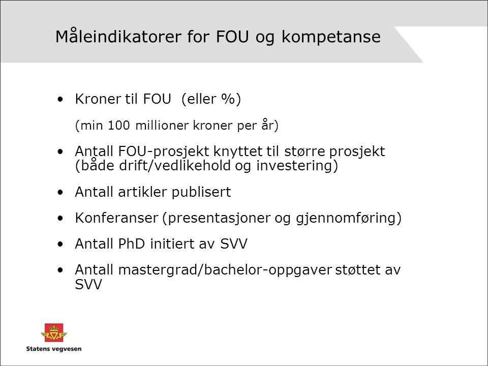 Måleindikatorer for FOU og kompetanse