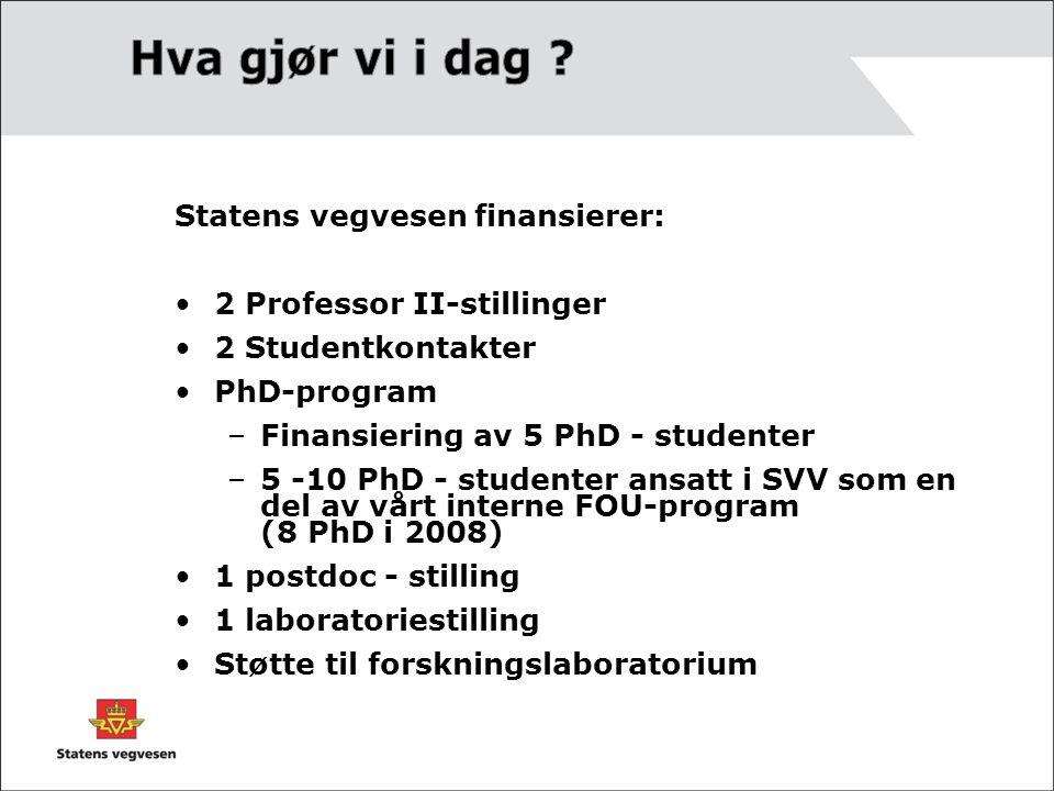 Hva gjør vi i dag Statens vegvesen finansierer:
