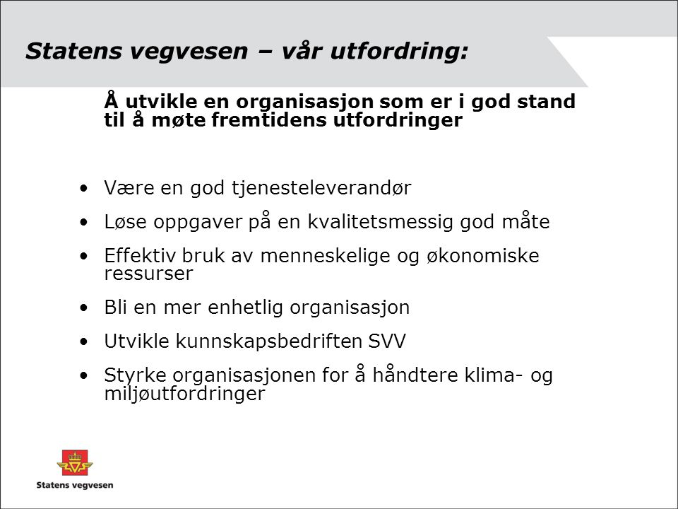 Statens vegvesen – vår utfordring: