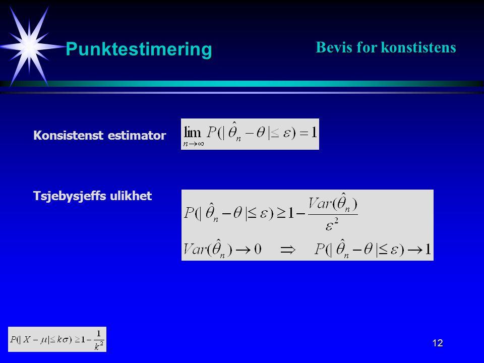 Punktestimering Bevis for konstistens Konsistenst estimator