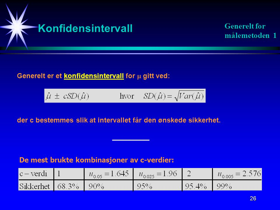 Konfidensintervall Generelt for målemetoden 1