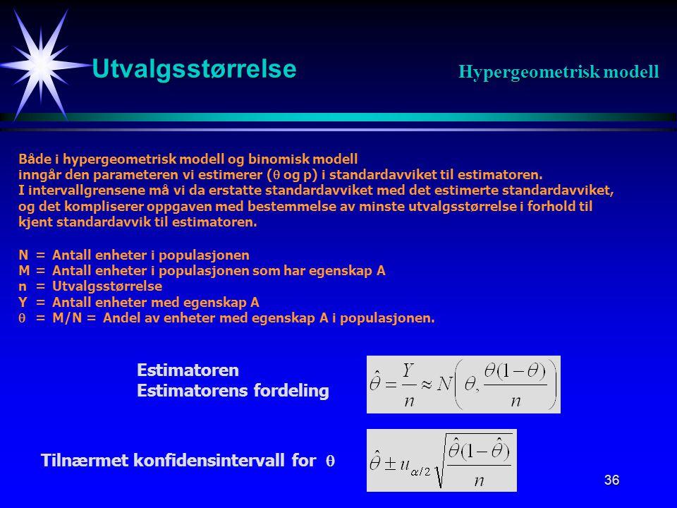 Utvalgsstørrelse Hypergeometrisk modell Estimatoren