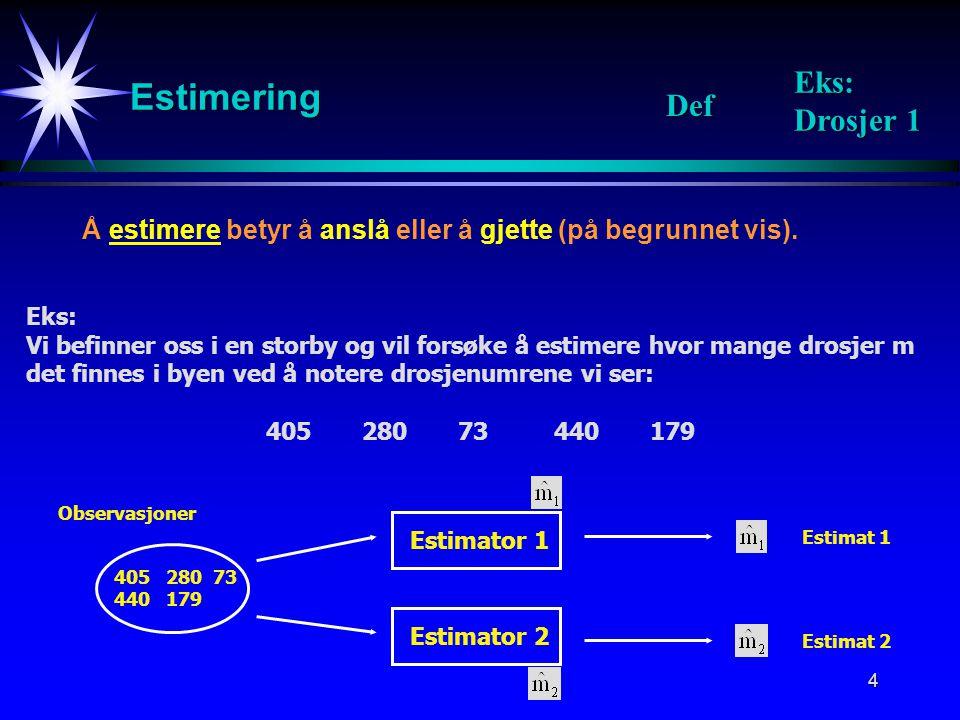 Estimering Eks: Drosjer 1 Def