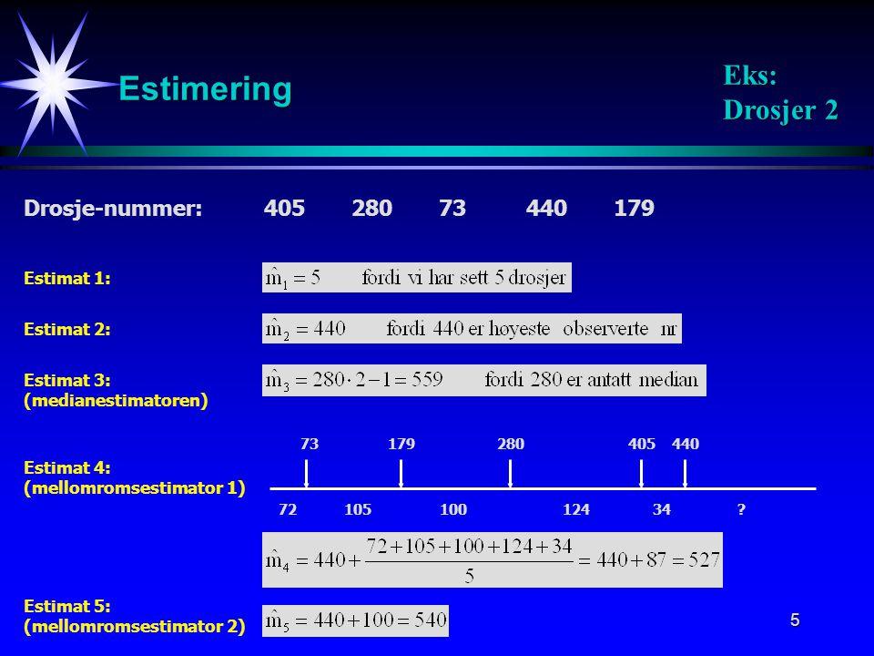 Estimering Eks: Drosjer 2 Drosje-nummer: 405 280 73 440 179 Estimat 1: