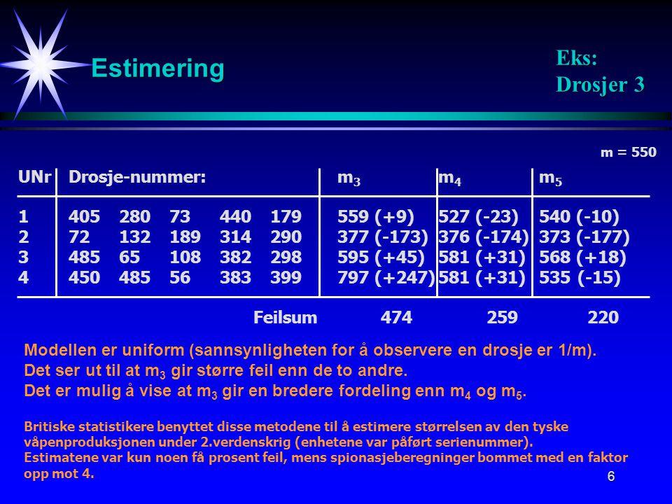 Estimering Eks: Drosjer 3 UNr Drosje-nummer: m3 m4 m5