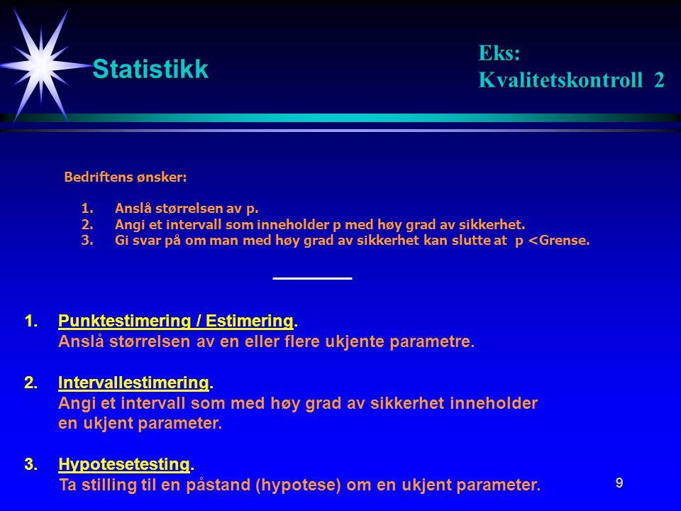 Statistikk Eks: Kvalitetskontroll 2 1. Punktestimering / Estimering.