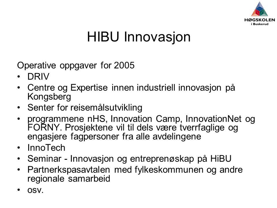 HIBU Innovasjon Operative oppgaver for 2005 DRIV