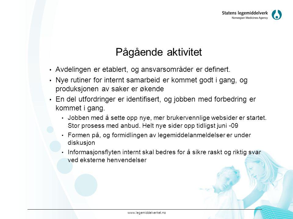 Pågående aktivitet Avdelingen er etablert, og ansvarsområder er definert.
