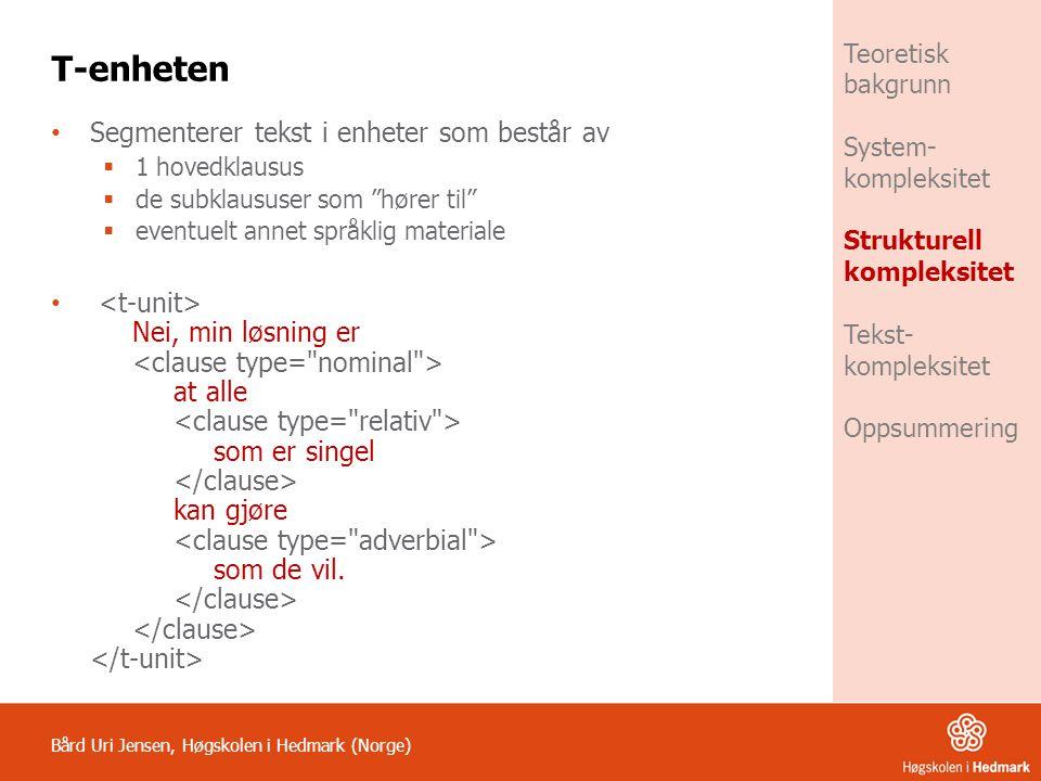 T-enheten Segmenterer tekst i enheter som består av