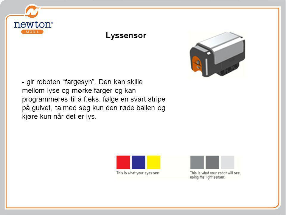Lyssensor - gir roboten fargesyn . Den kan skille