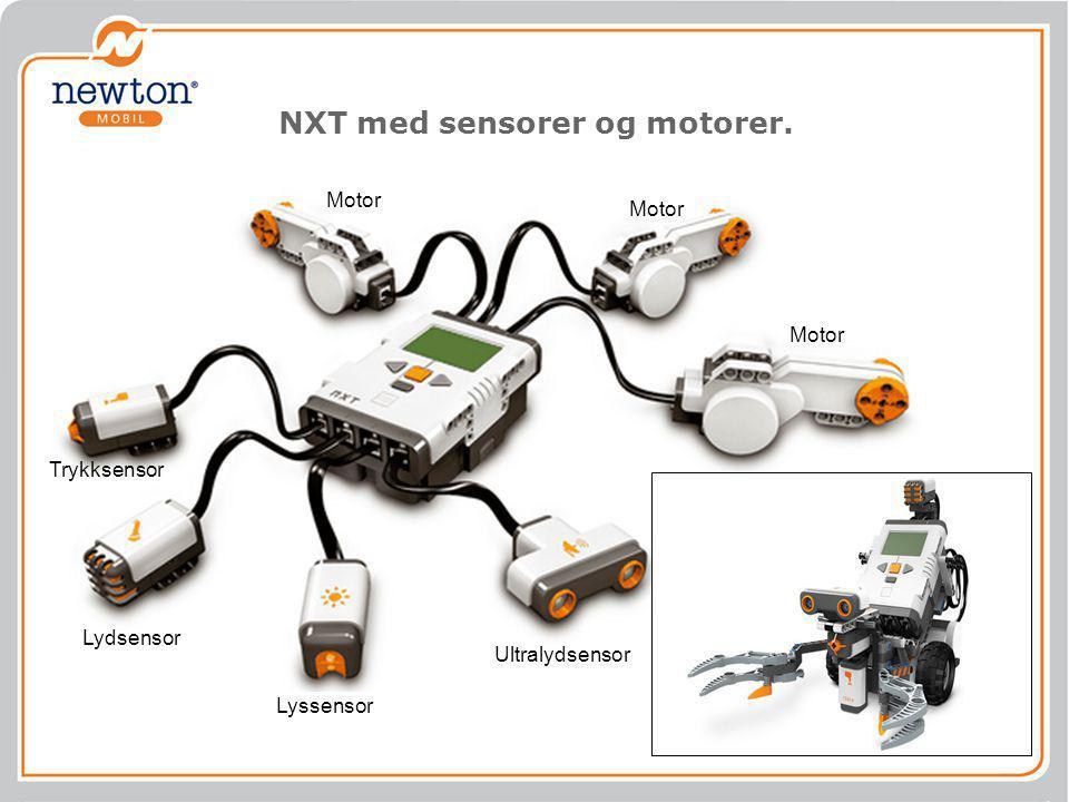 NXT med sensorer og motorer.