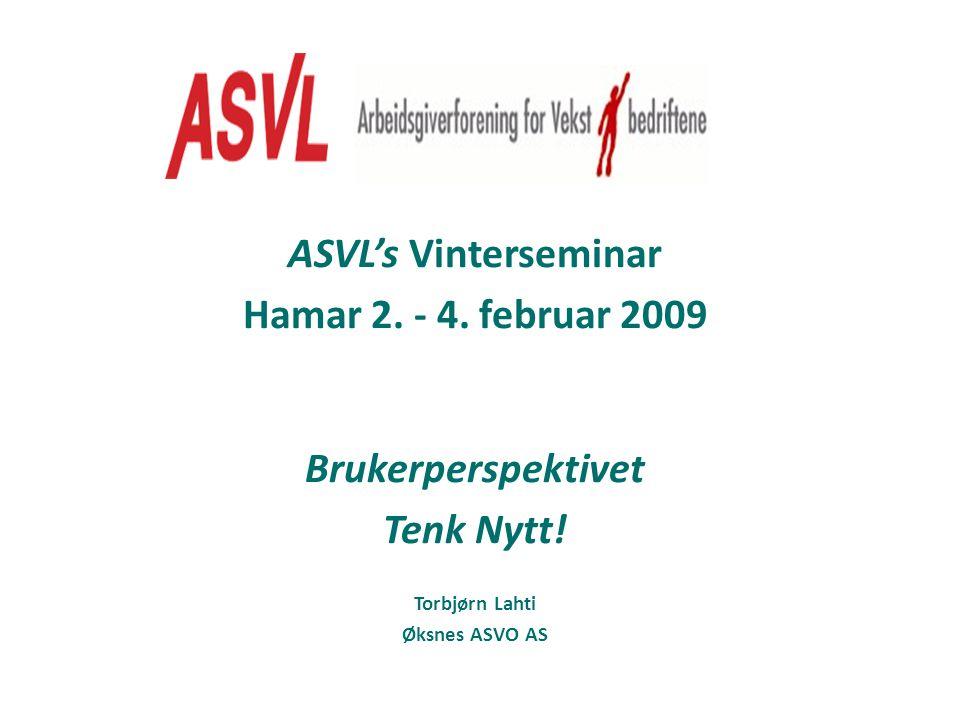 ASVL's Vinterseminar Hamar 2. - 4. februar 2009 Brukerperspektivet