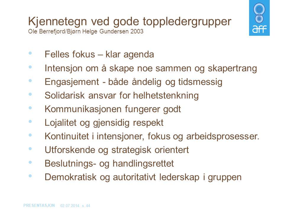 Kjennetegn ved gode toppledergrupper Ole Berrefjord/Bjørn Helge Gundersen 2003