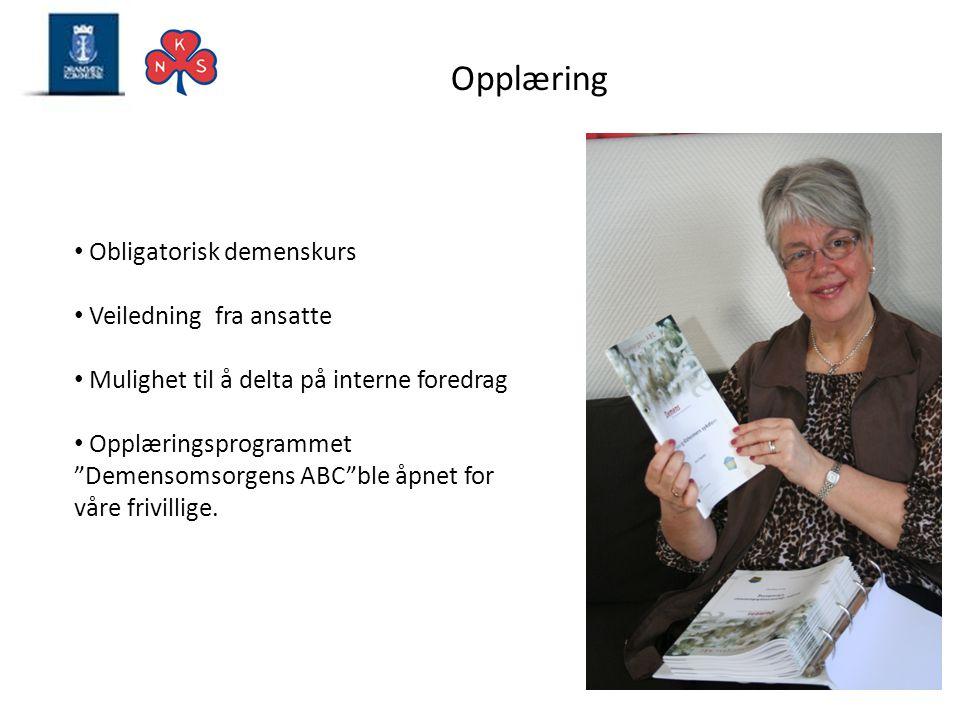 Opplæring Obligatorisk demenskurs Veiledning fra ansatte