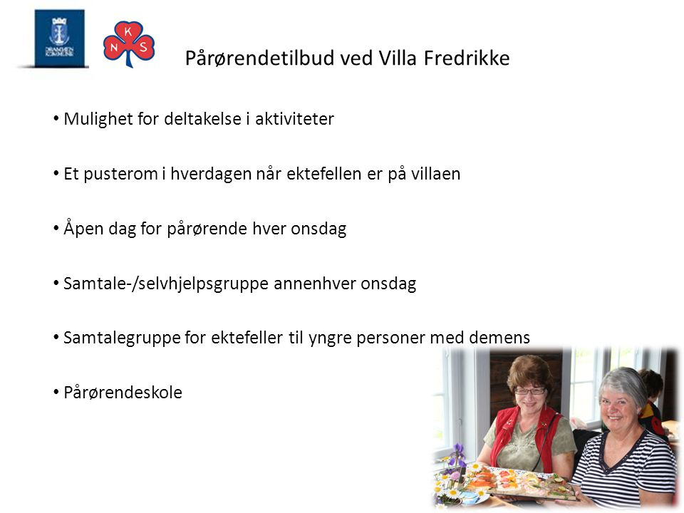 Pårørendetilbud ved Villa Fredrikke