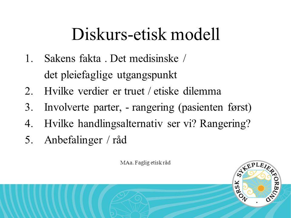 Diskurs-etisk modell Sakens fakta . Det medisinske /