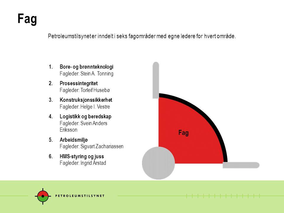 Fag Petroleumstilsynet er inndelt i seks fagområder med egne ledere for hvert område. 1. Bore- og brønnteknologi Fagleder: Stein A. Tonning.