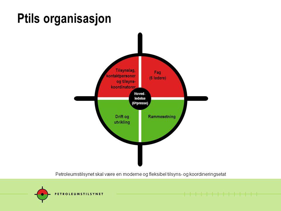 Ptils organisasjon Tilsynslag, kontaktpersoner og tilsyns-koordinatorer. Fag (6 ledere) Hoved- ledelse.