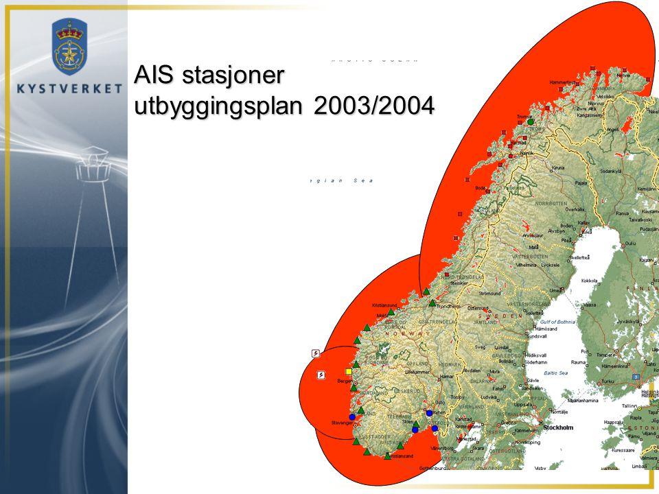 AIS stasjoner utbyggingsplan 2003/2004