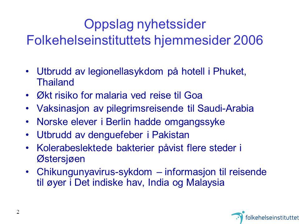 Oppslag nyhetssider Folkehelseinstituttets hjemmesider 2006