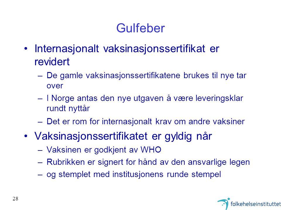 Gulfeber Internasjonalt vaksinasjonssertifikat er revidert