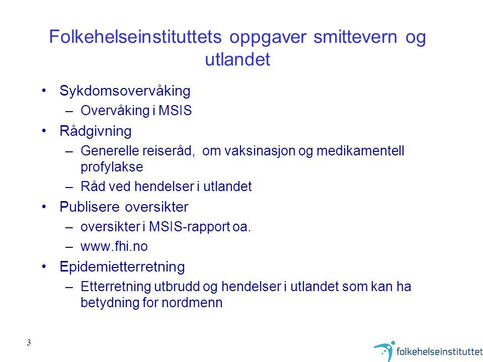 Folkehelseinstituttets oppgaver smittevern og utlandet