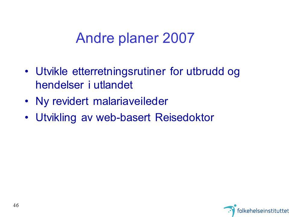 Andre planer 2007 Utvikle etterretningsrutiner for utbrudd og hendelser i utlandet. Ny revidert malariaveileder.