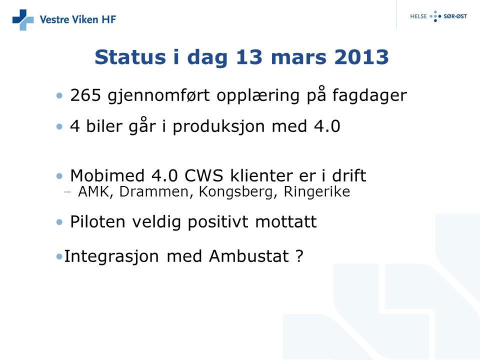 Status i dag 13 mars 2013 265 gjennomført opplæring på fagdager