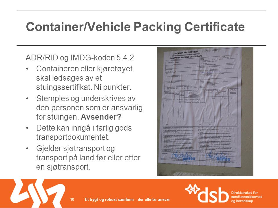Container/Vehicle Packing Certificate