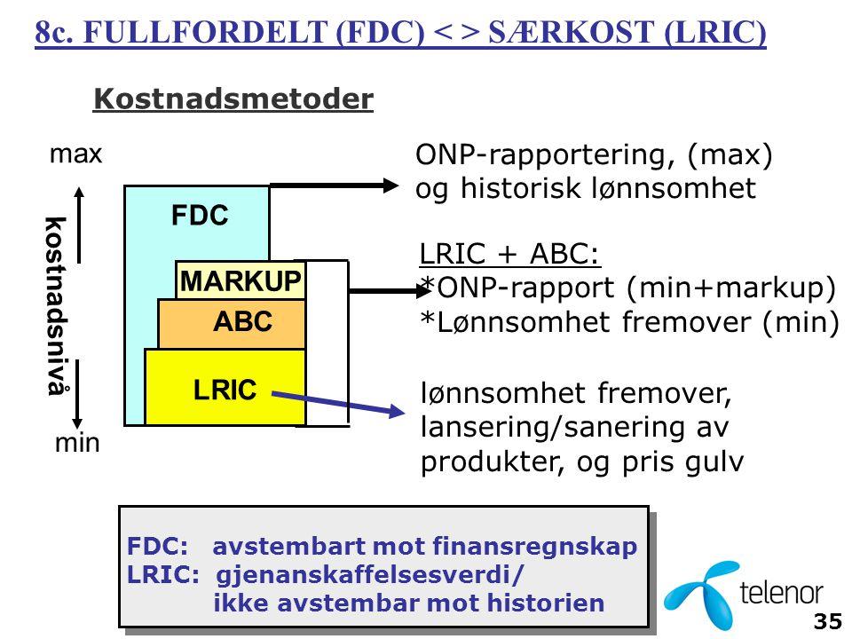 8c. FULLFORDELT (FDC) < > SÆRKOST (LRIC)