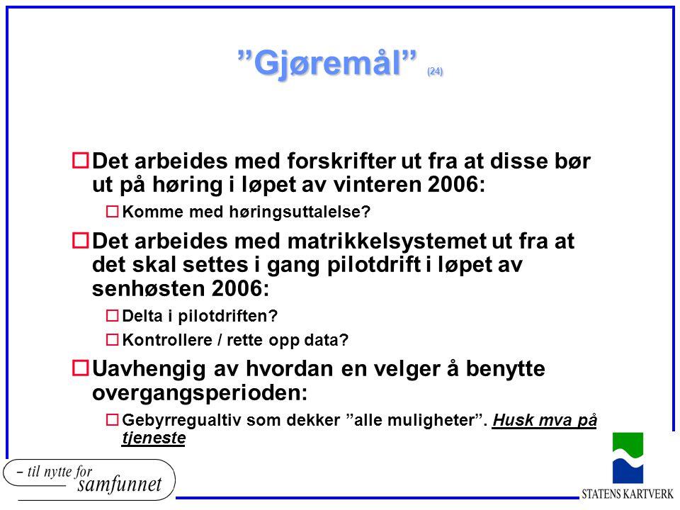 Gjøremål (24) Det arbeides med forskrifter ut fra at disse bør ut på høring i løpet av vinteren 2006: