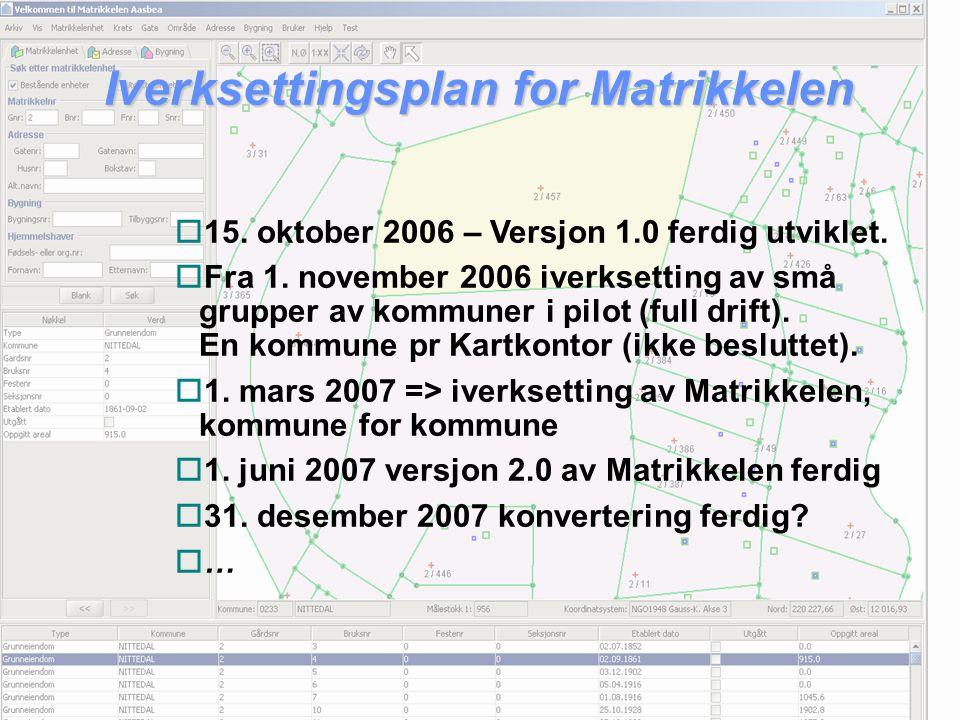 Iverksettingsplan for Matrikkelen