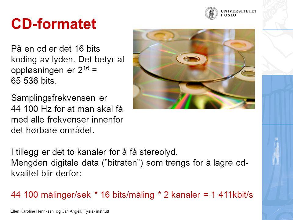 CD-formatet På en cd er det 16 bits koding av lyden. Det betyr at oppløsningen er 216 = 65 536 bits.