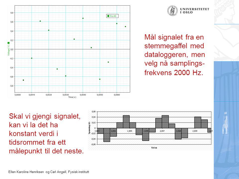 Mål signalet fra en stemmegaffel med dataloggeren, men velg nå samplings-frekvens 2000 Hz.