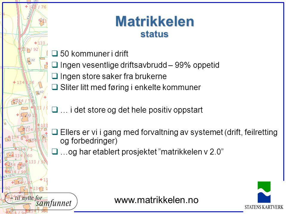 Matrikkelen status www.matrikkelen.no 50 kommuner i drift